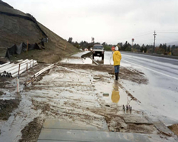 Erosion over roadway